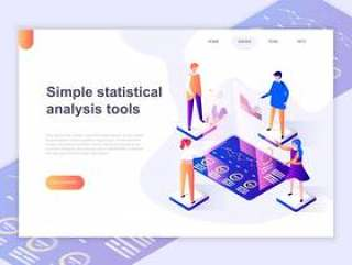 登陆页面模板的图表和分析统计数据网页模板矢量素材下载