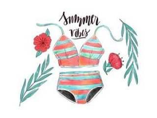 与叶子和花与夏天报价的水彩老式泳装