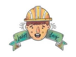 安全帽和丝带的水彩工人人为劳动节传染媒介