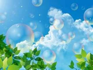 新鲜的绿色和竹子布和泡沫