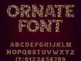 金属花纹样式字体