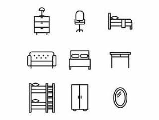 黑色和白色的家具