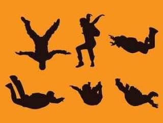 跳伞剪影模型 矢量