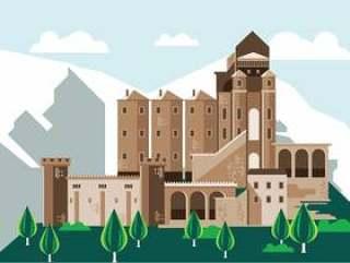 圣弥额尔隐修院 - 圣米歇尔修道院矢量