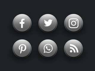 灰色的社交媒体图标包按钮样式