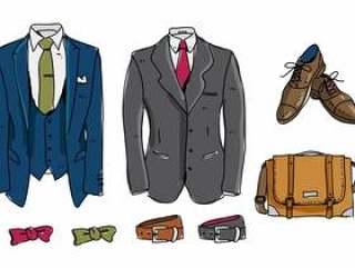 正式的礼服套装手绘矢量图