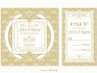 复古装饰艺术婚礼卡矢量模板