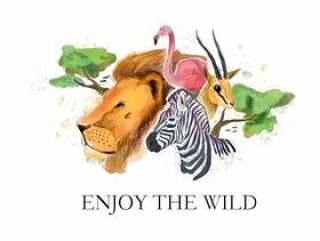 野生动物园野生动物水彩样式矢