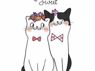 用词我的甜蜜的涂鸦风格画爱猫的情侣