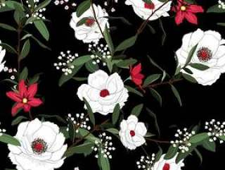 White blooming flower seamless pattern vector on black