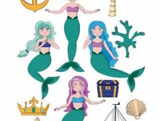套美丽的美人鱼动画片传染媒介例证图形设计
