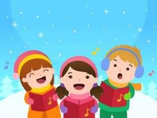 孩子们唱圣诞颂歌矢量