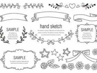 手写的材料031植物和丝带框架