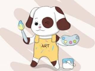 手拉逗人喜爱的狗的动画片