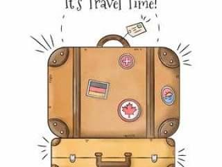 一盒带邮票的手提箱旅行到夏季