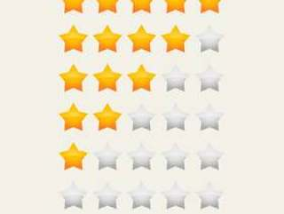 黄色有光泽的星级评级