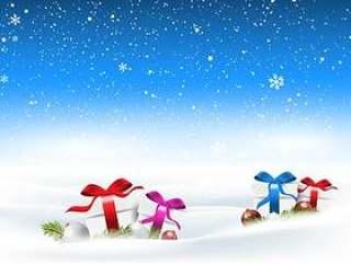 与礼物的圣诞节多雪的风景依偎在雪中