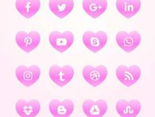 美丽的粉红色的心社交媒体网络图标包