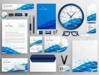 创造性的业务文具设计在蓝色抽象的形状