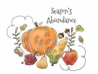 水彩健康的秋季水果和蔬菜飘着叶子和装饰品落季节