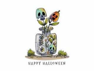 可爱的万圣节瓶与头骨和南瓜植物矢量
