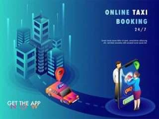 人们使用移动应用程序预订出租车。