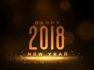 闪亮2018年新年快乐贺卡设计与闪闪发光