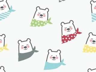 可爱熊无缝图案背景