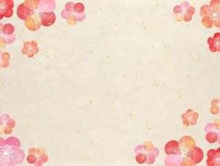 梅花_粉彩_日本纸框1484
