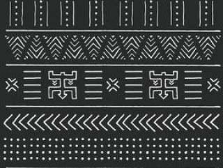 与几何元素的黑白部族种族样式,传统非洲泥布料,部族设计