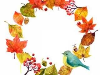 鸟和秋天的树叶的礁框架