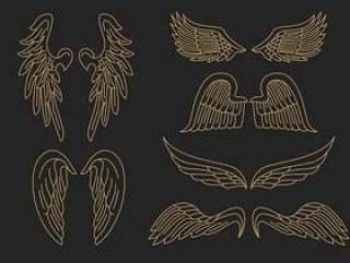 金天使的翅膀轮廓矢量