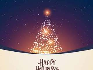 美丽的冬天夜景与发光的圣诞树设计