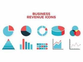 业务收入图表图标 矢量