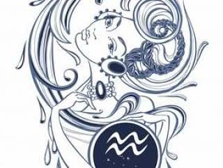 Zodiac sign Aquarius a beautiful girl.
