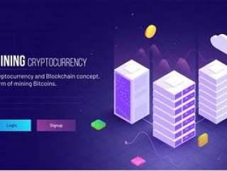 挖掘加密货币响应英雄形象网页模板矢量素材下载