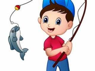 可爱的卡通男孩钓鱼