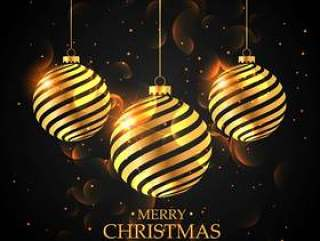 在黑色背景上的金色圣诞球。圣诞快乐圣诞绿色