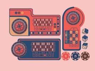 轮盘赌桌设计传染媒介