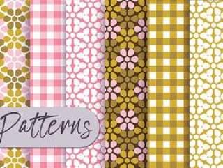 橄榄色粉红色装饰图案集