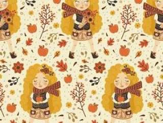 可爱的金发女孩,在秋天的无缝模式