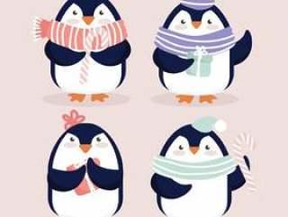 矢量可爱的圣诞企鹅