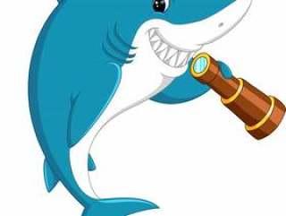 拿着双眼的逗人喜爱的鲨鱼