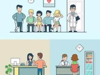 14款卡通扁平化室内生活商务开会工作医院场景人物ui设计引导页矢量素材
