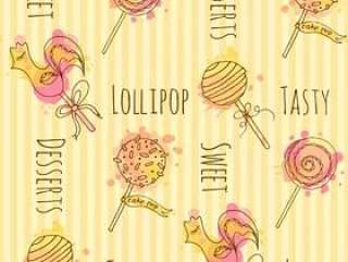 无缝模式。矢量糖果插画。手绘棒棒糖与多彩飞溅的一套。蛋糕流行与奶油设计。
