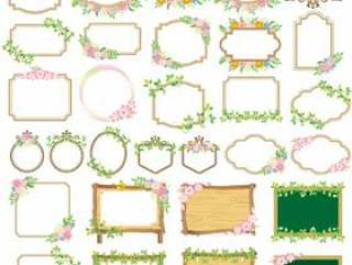 花卉和植物装饰框架集