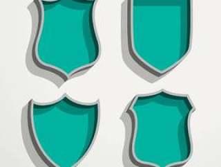 3d复古风格四个徽章集