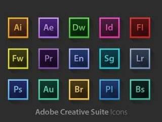 Adobe系列软件长投影图标PSD素材