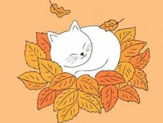 卡通可爱的秋天猫睡在叶子矢量。