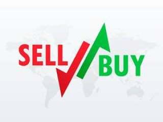 买入和卖出股票交易的箭头